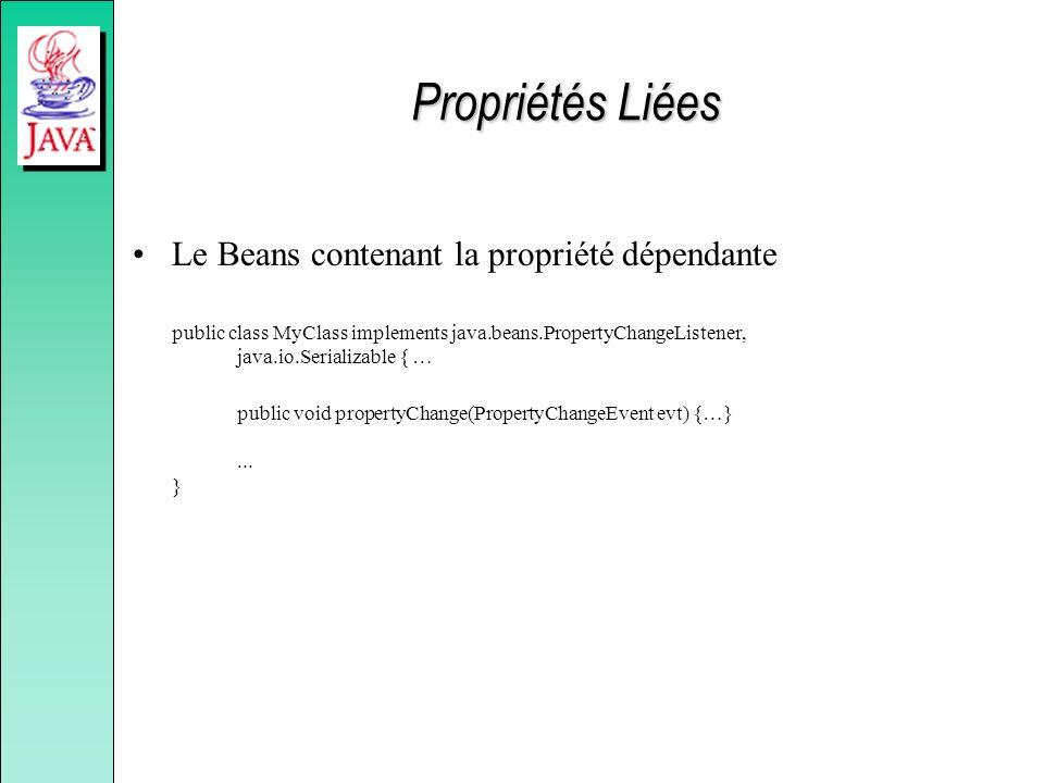 Propriétés Liées Le Beans contenant la propriété dépendante