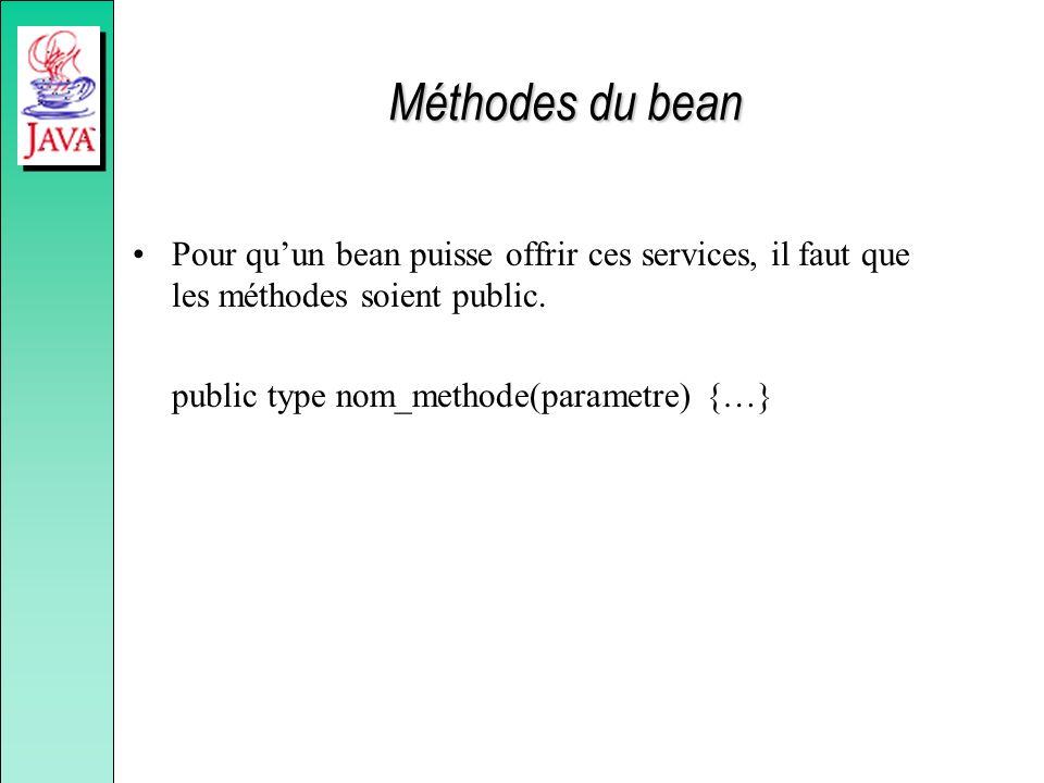 Méthodes du bean Pour qu'un bean puisse offrir ces services, il faut que les méthodes soient public.