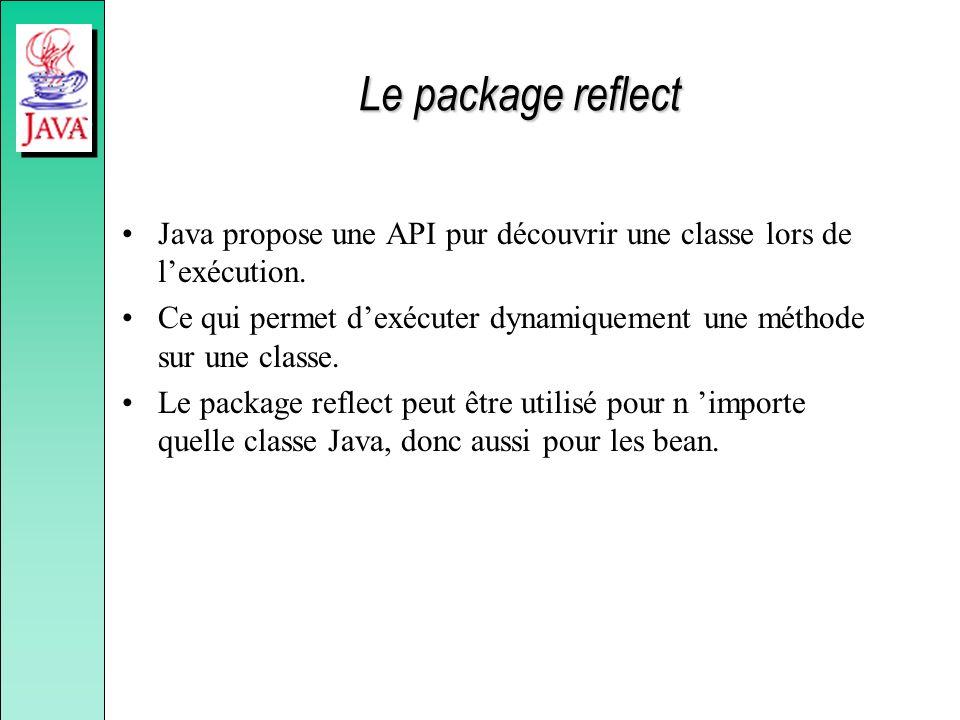 Le package reflect Java propose une API pur découvrir une classe lors de l'exécution.