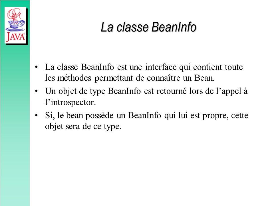La classe BeanInfo La classe BeanInfo est une interface qui contient toute les méthodes permettant de connaître un Bean.