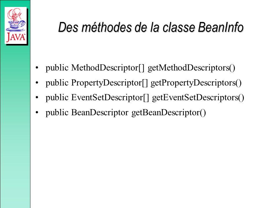Des méthodes de la classe BeanInfo