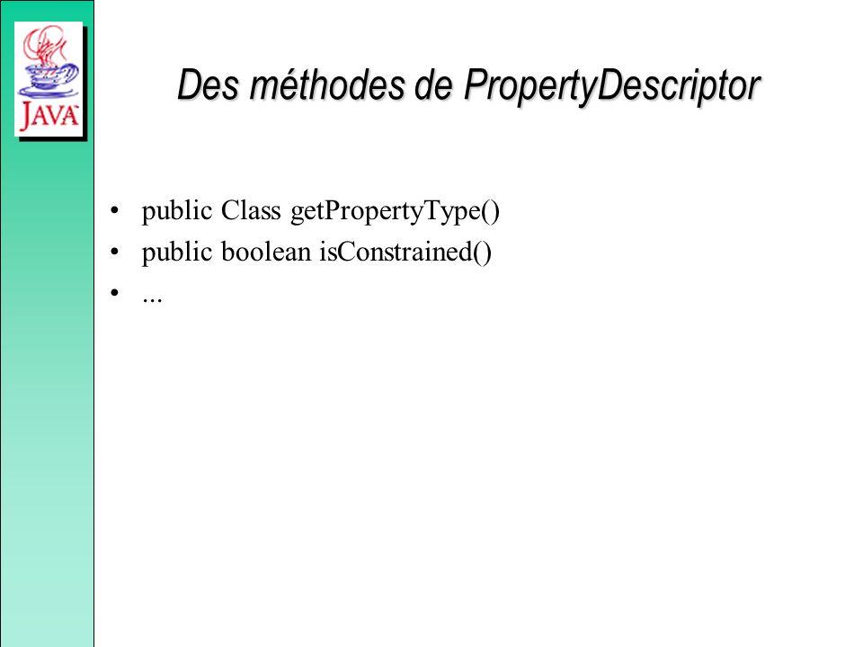Des méthodes de PropertyDescriptor