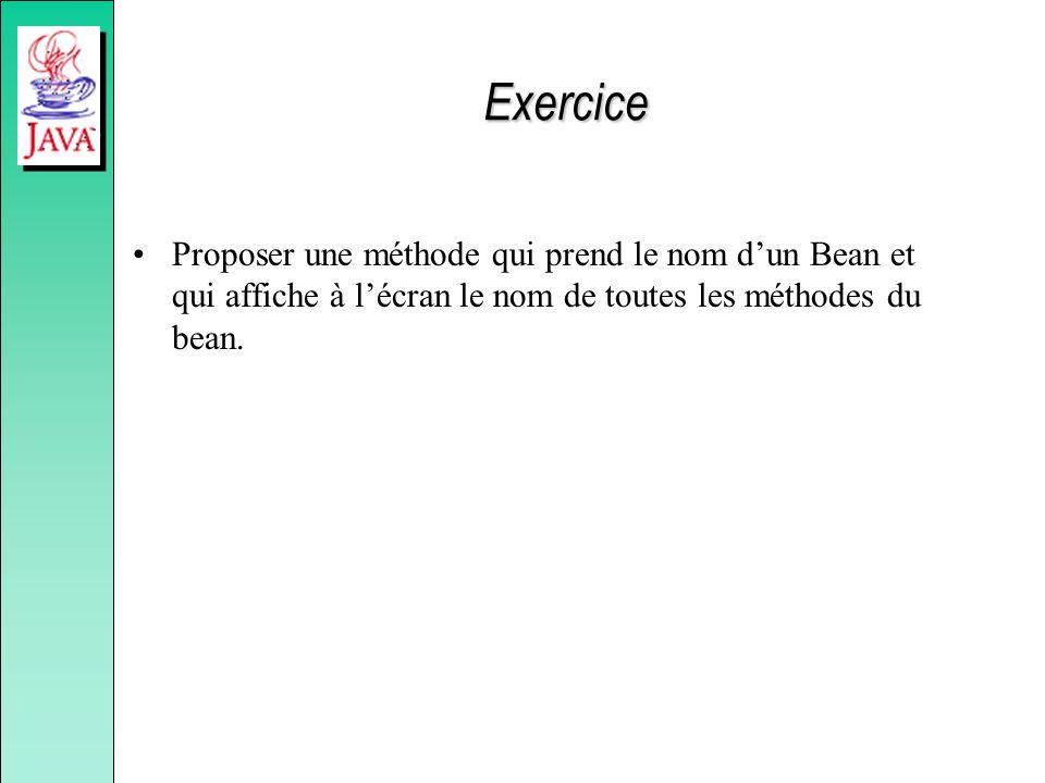 Exercice Proposer une méthode qui prend le nom d'un Bean et qui affiche à l'écran le nom de toutes les méthodes du bean.