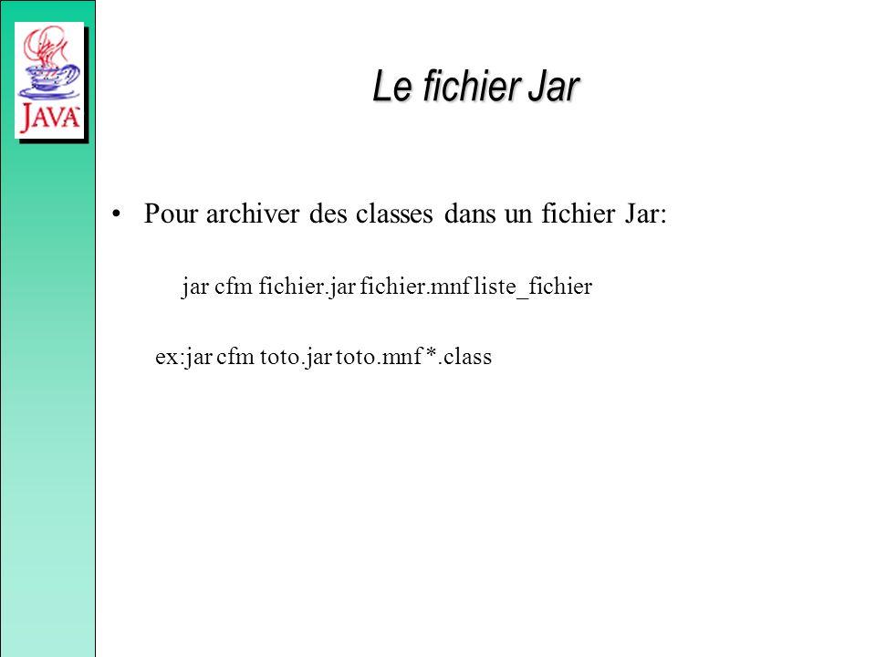 Le fichier Jar Pour archiver des classes dans un fichier Jar: