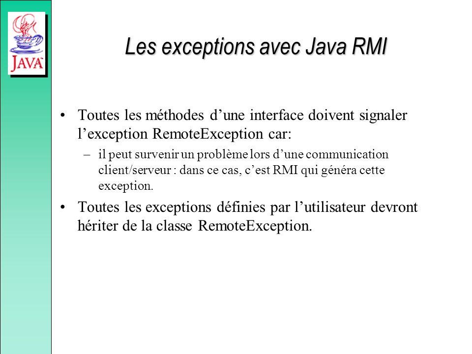 Les exceptions avec Java RMI