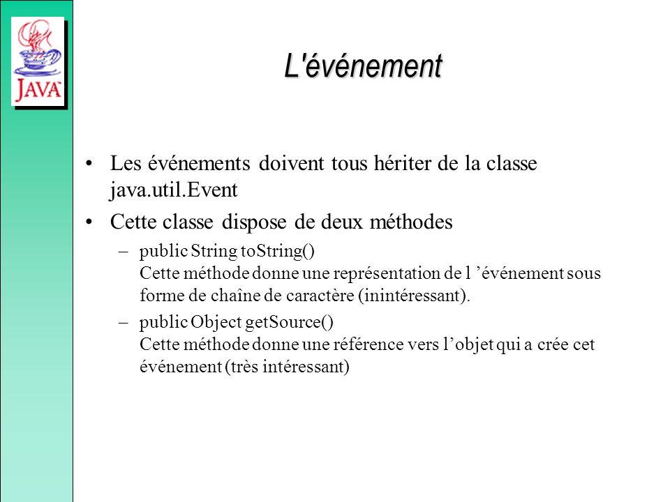 L événement Les événements doivent tous hériter de la classe java.util.Event. Cette classe dispose de deux méthodes.