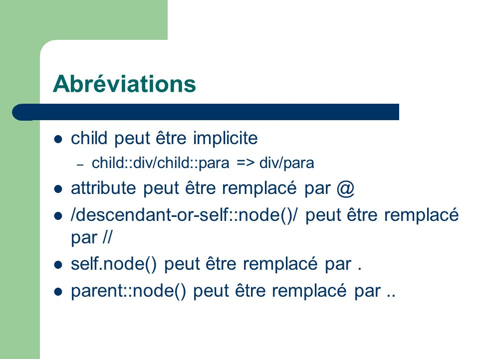 Abréviations child peut être implicite