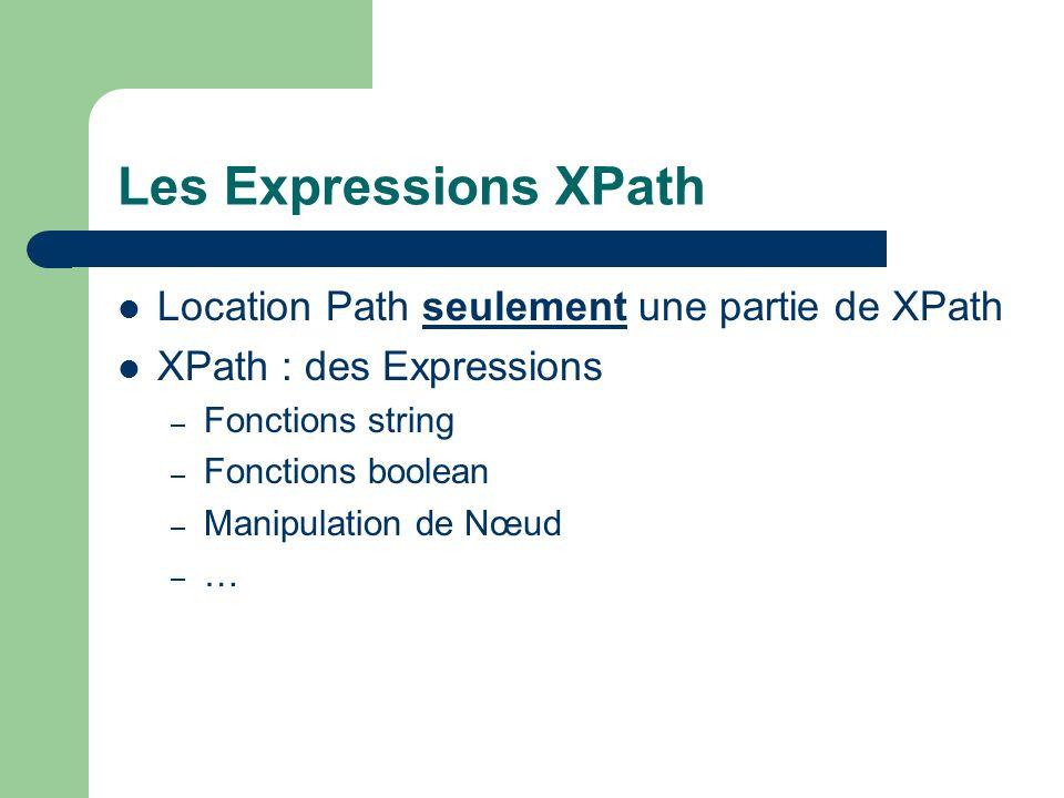 Les Expressions XPath Location Path seulement une partie de XPath
