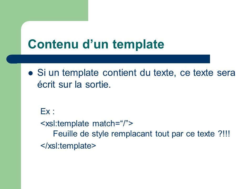 Contenu d'un template Si un template contient du texte, ce texte sera écrit sur la sortie. Ex :