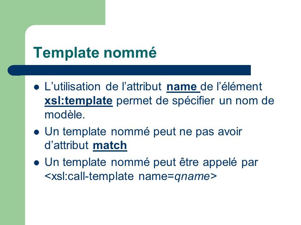Template nomméL'utilisation de l'attribut name de l'élément xsl:template permet de spécifier un nom de modèle.