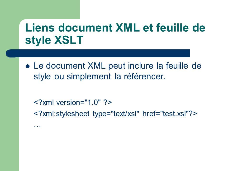 Liens document XML et feuille de style XSLT