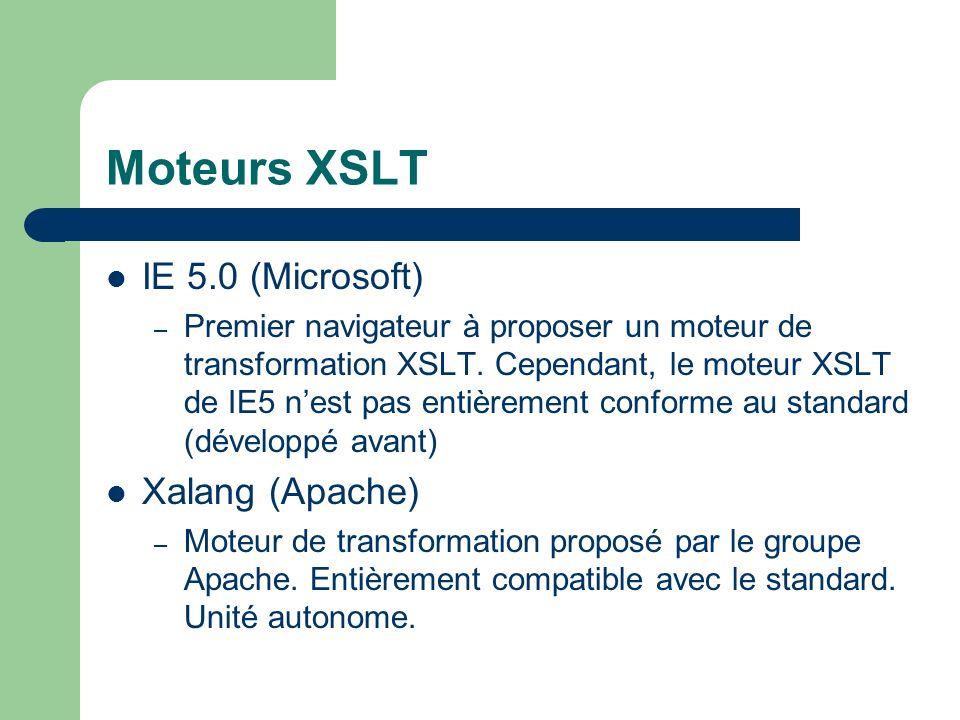 Moteurs XSLT IE 5.0 (Microsoft) Xalang (Apache)