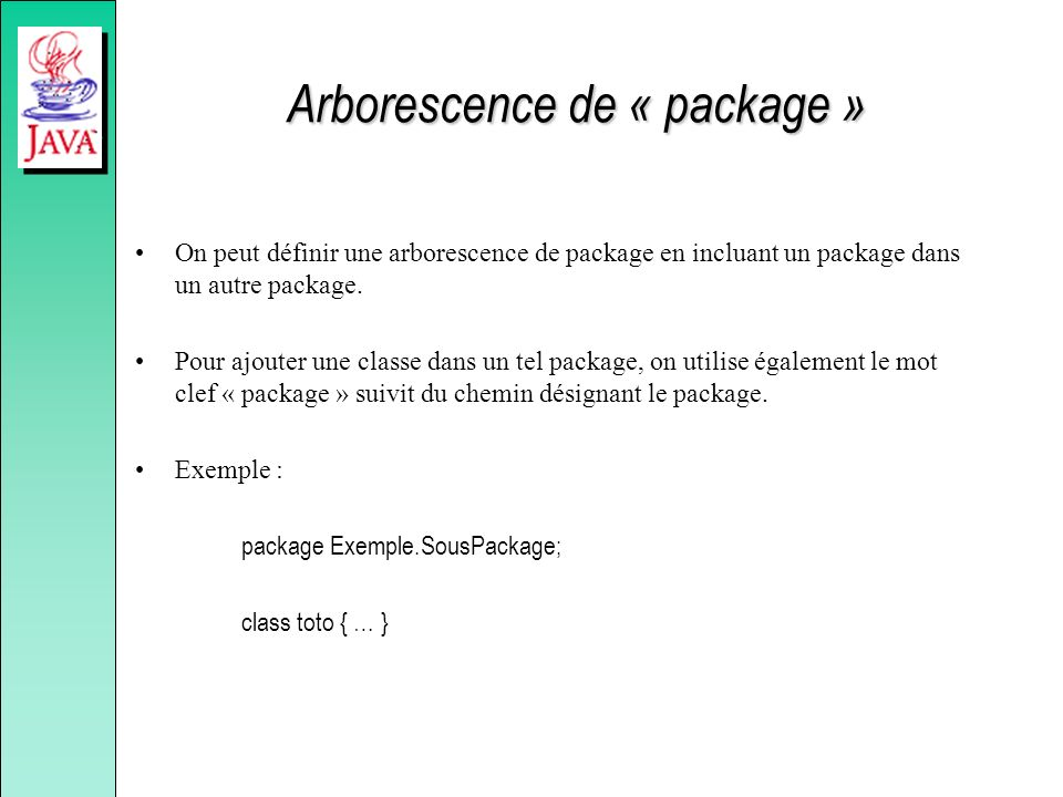 Arborescence de « package »