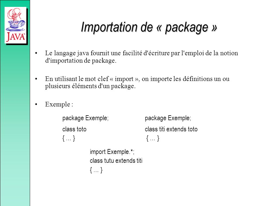Importation de « package »