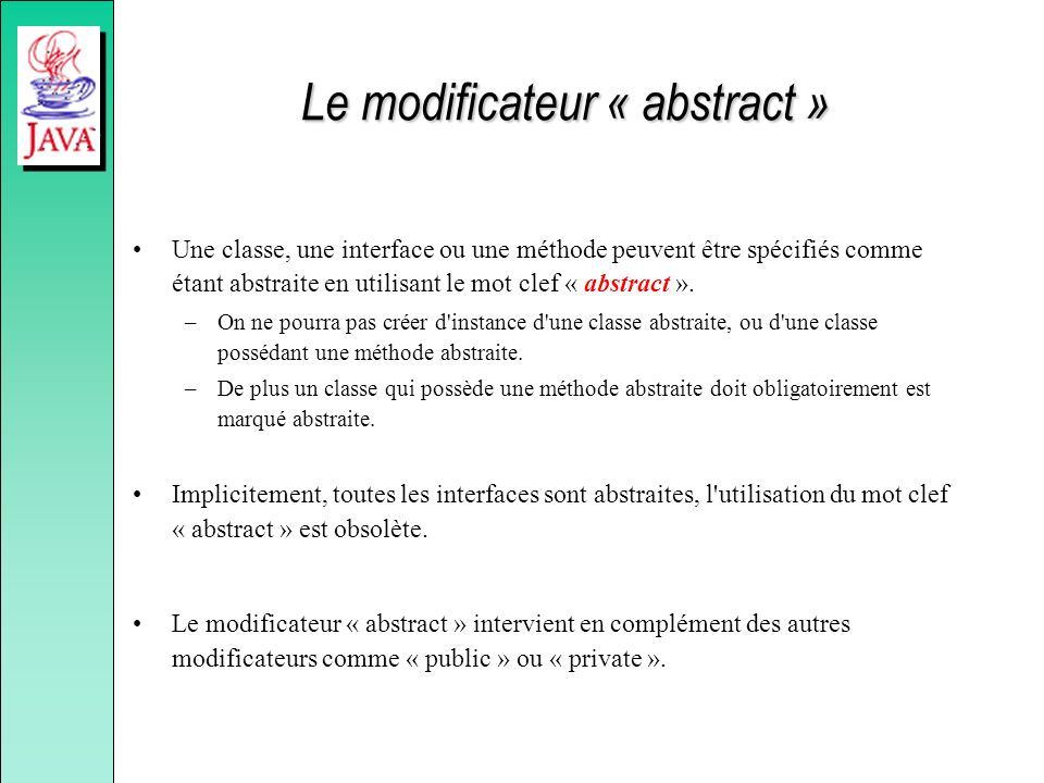 Le modificateur « abstract »