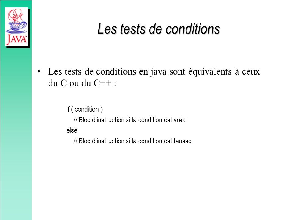 Les tests de conditions