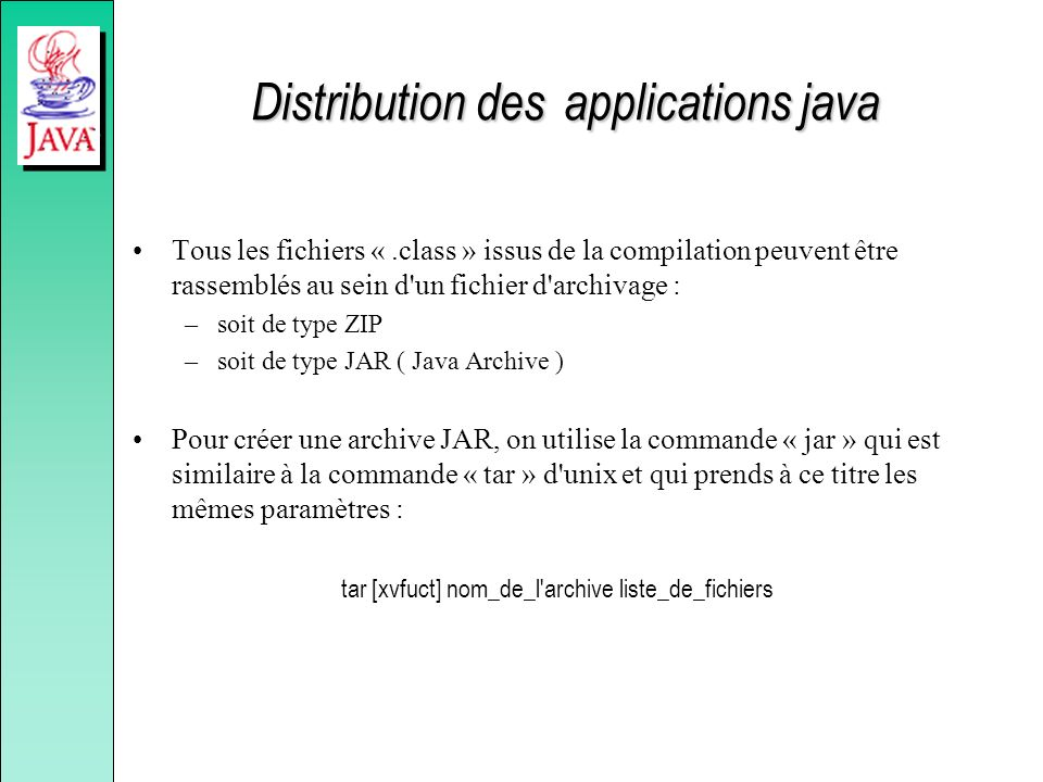 Distribution des applications java