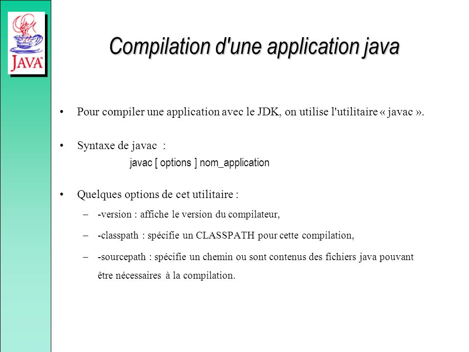 Compilation d une application java
