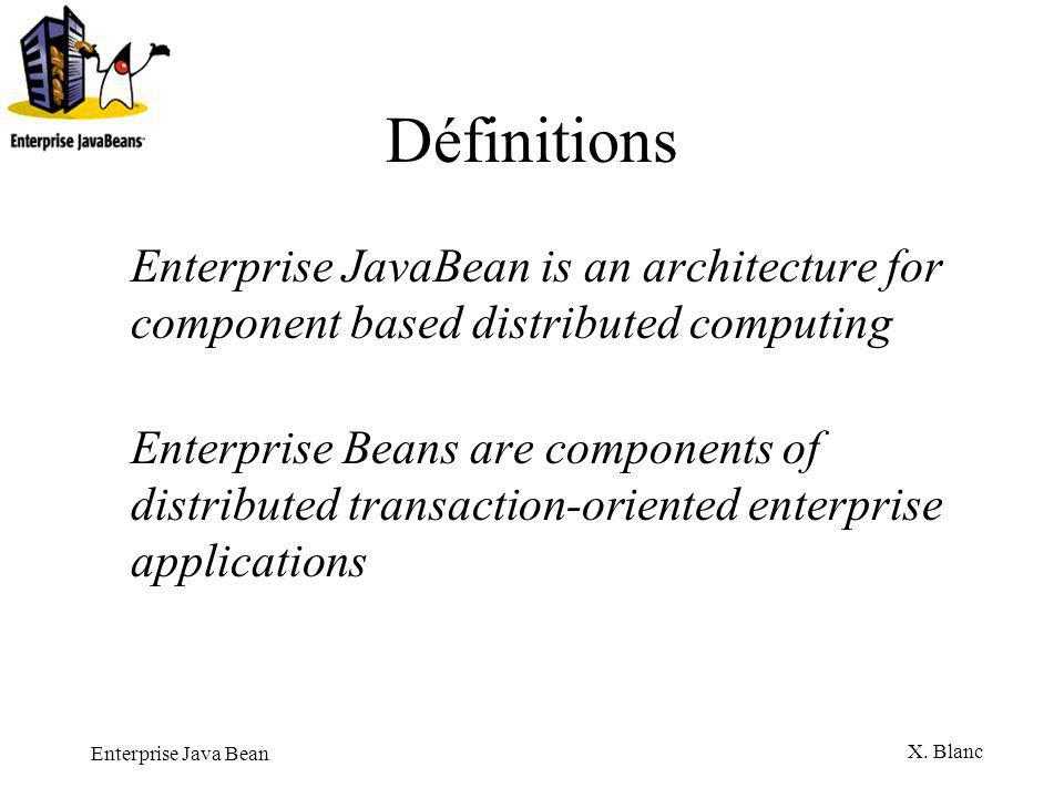 Définitions Enterprise JavaBean is an architecture for component based distributed computing.