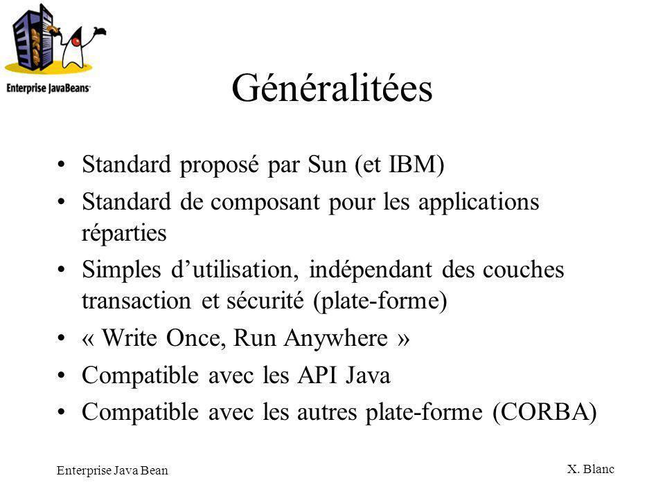 Généralitées Standard proposé par Sun (et IBM)