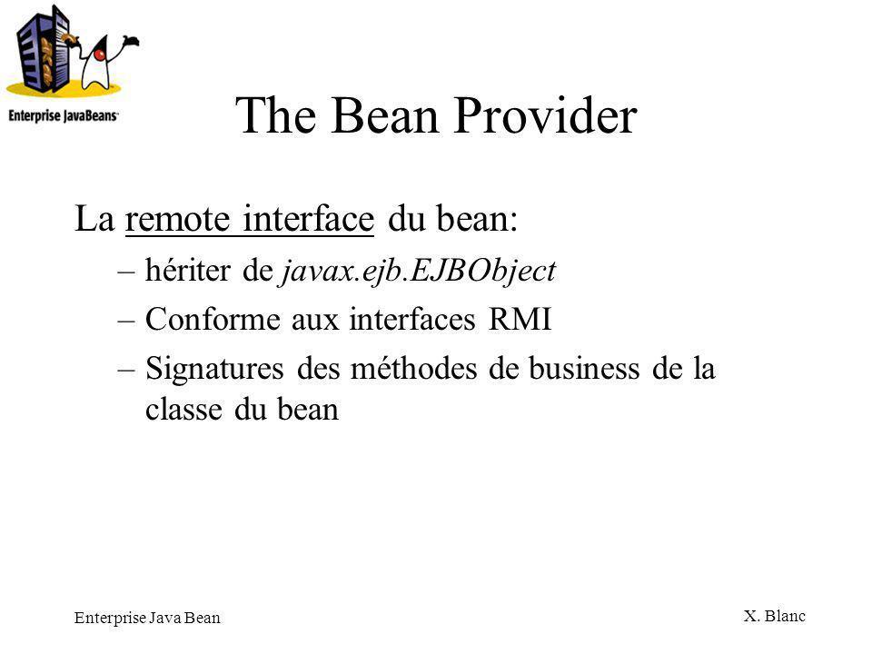 The Bean Provider La remote interface du bean: