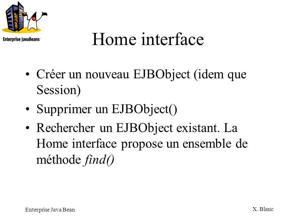 Home interface Créer un nouveau EJBObject (idem que Session)