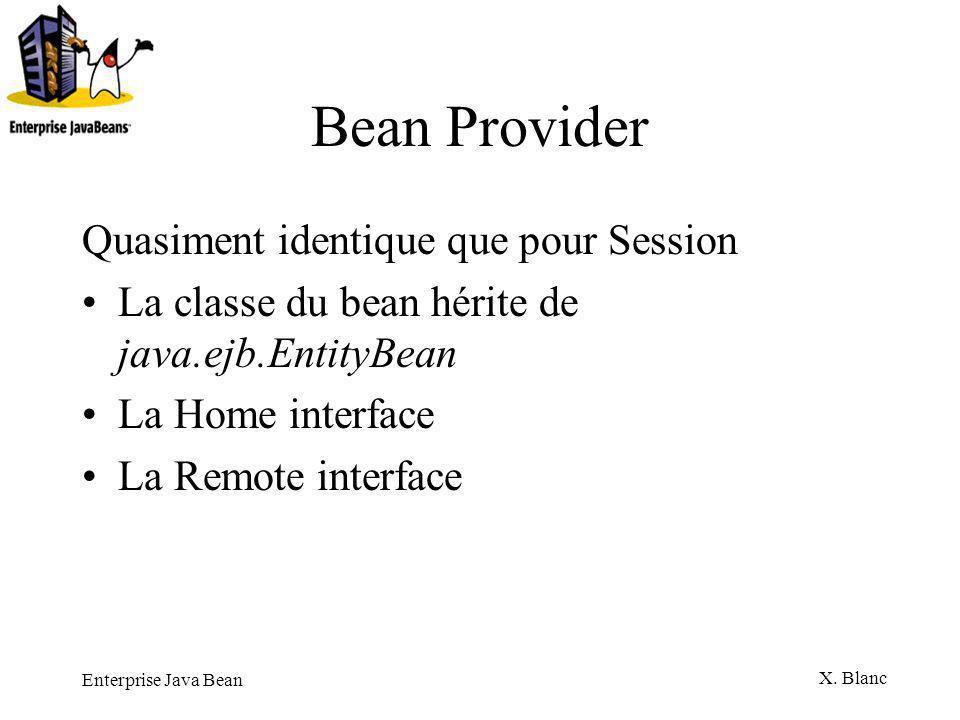 Bean Provider Quasiment identique que pour Session