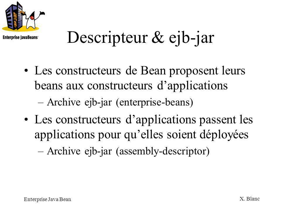 Descripteur & ejb-jar Les constructeurs de Bean proposent leurs beans aux constructeurs d'applications.
