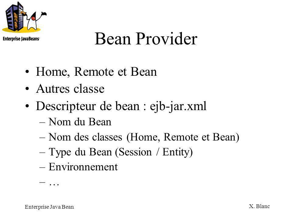 Bean Provider Home, Remote et Bean Autres classe