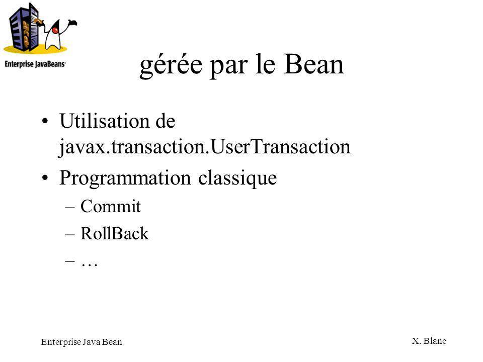 gérée par le Bean Utilisation de javax.transaction.UserTransaction