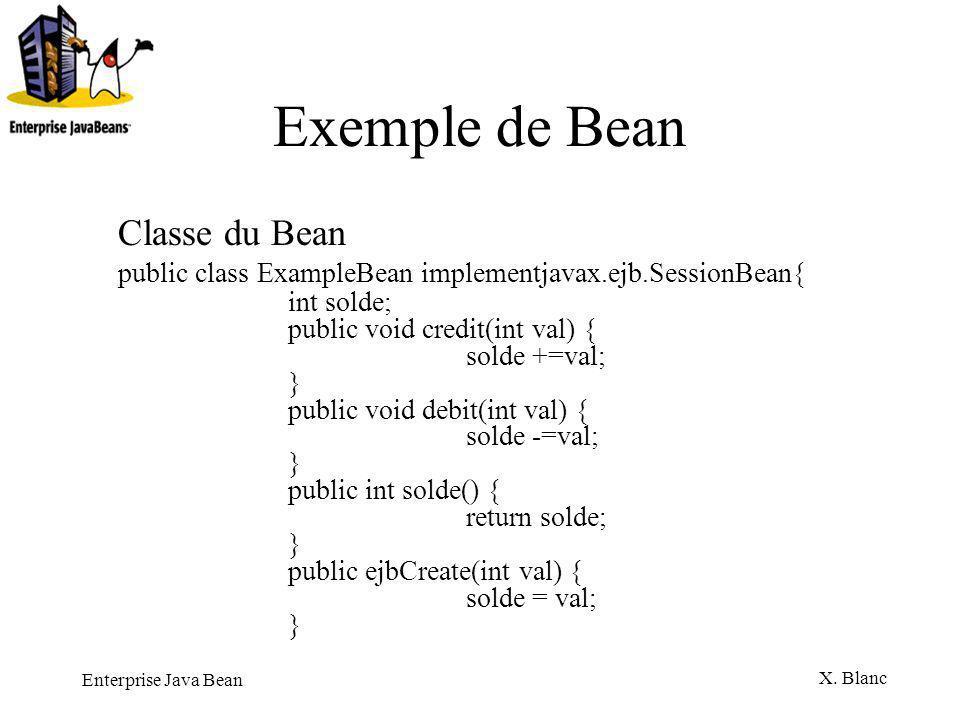 Exemple de Bean Classe du Bean