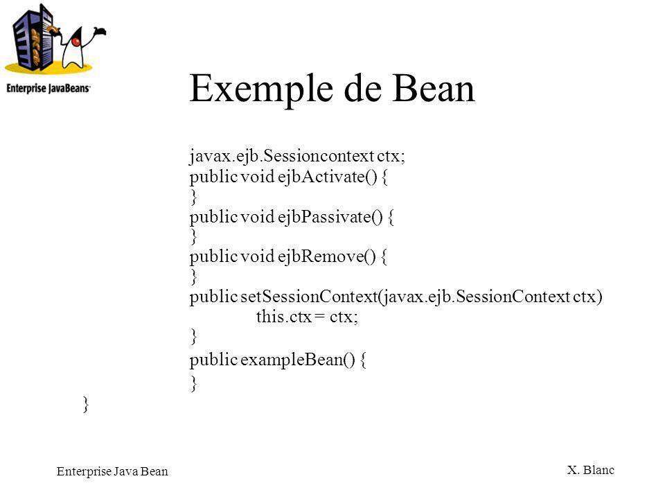 Exemple de Bean javax.ejb.Sessioncontext ctx; public exampleBean() {