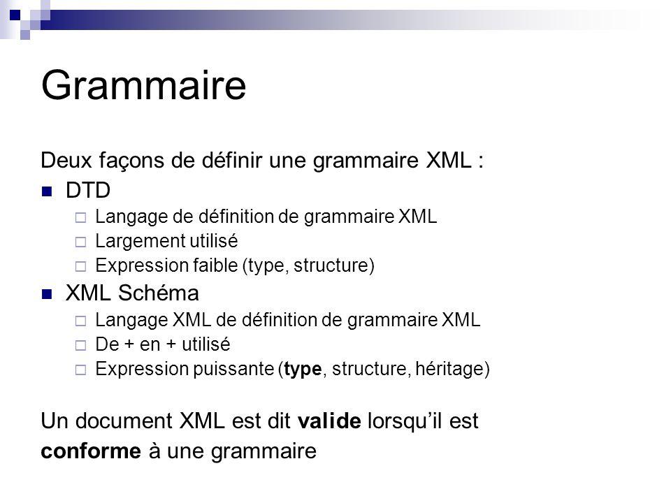Grammaire Deux façons de définir une grammaire XML : DTD XML Schéma