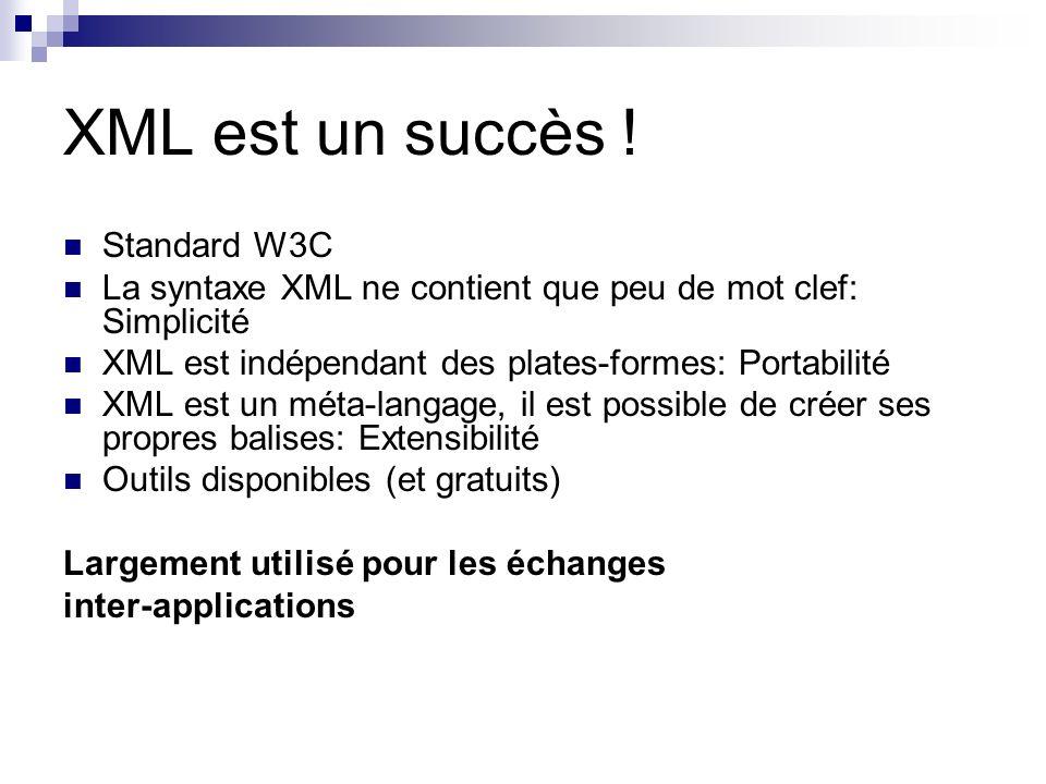 XML est un succès ! Standard W3C