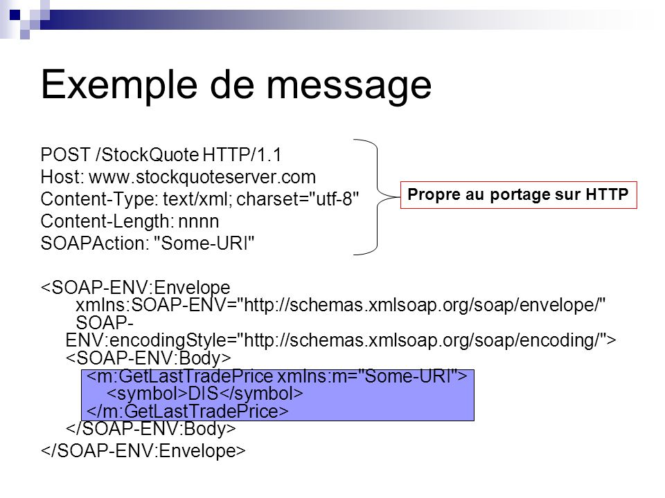 Exemple de message POST /StockQuote HTTP/1.1