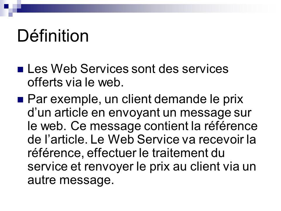 Définition Les Web Services sont des services offerts via le web.