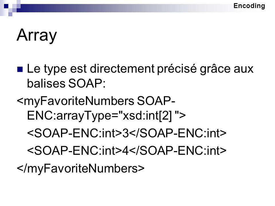 Array Le type est directement précisé grâce aux balises SOAP:
