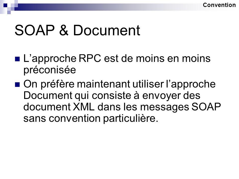 SOAP & Document L'approche RPC est de moins en moins préconisée