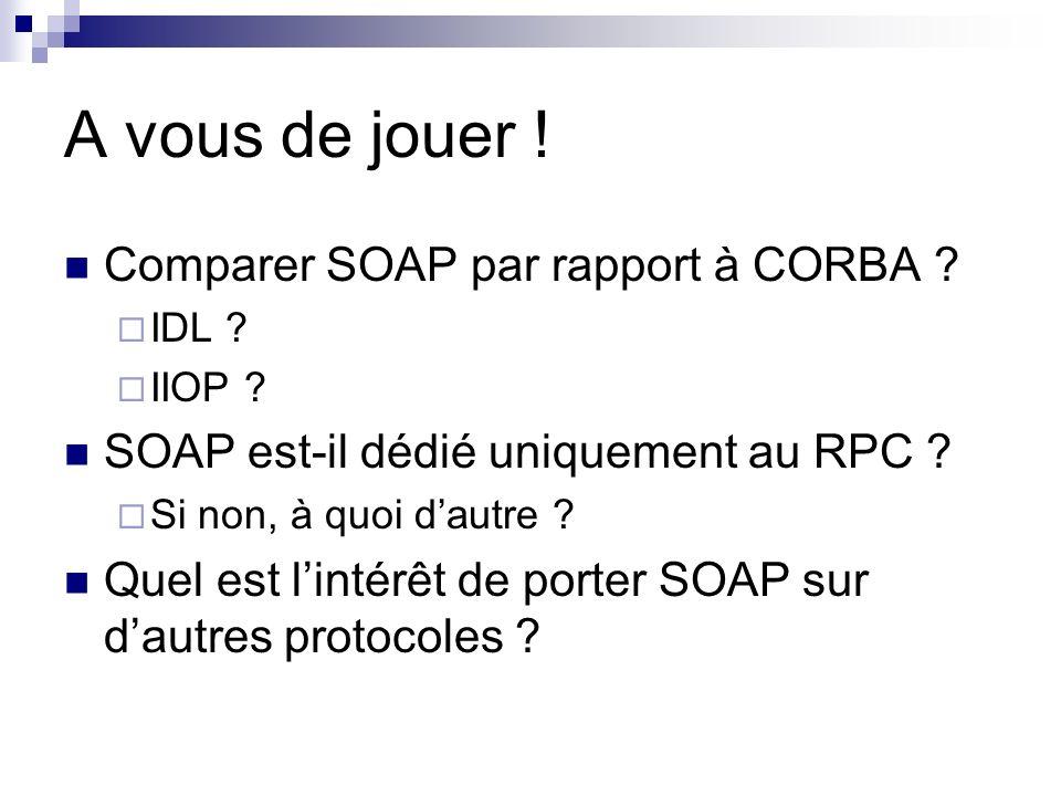 A vous de jouer ! Comparer SOAP par rapport à CORBA