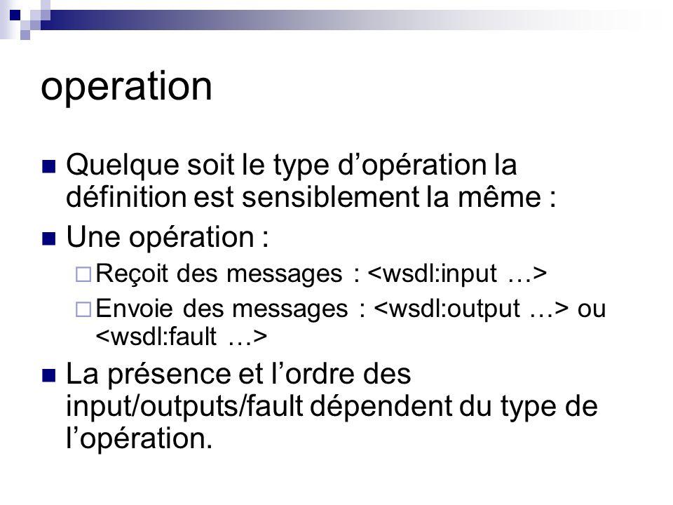 operation Quelque soit le type d'opération la définition est sensiblement la même : Une opération :