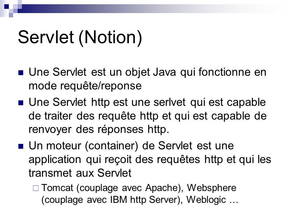 Servlet (Notion) Une Servlet est un objet Java qui fonctionne en mode requête/reponse.