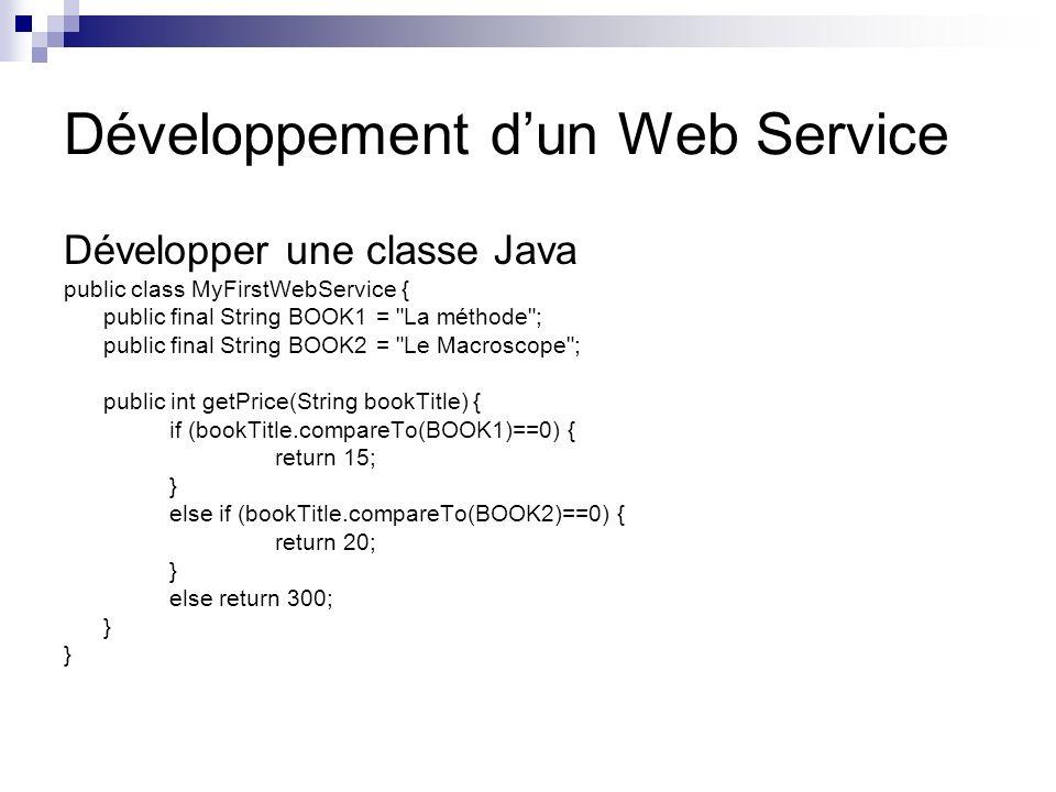 Développement d'un Web Service