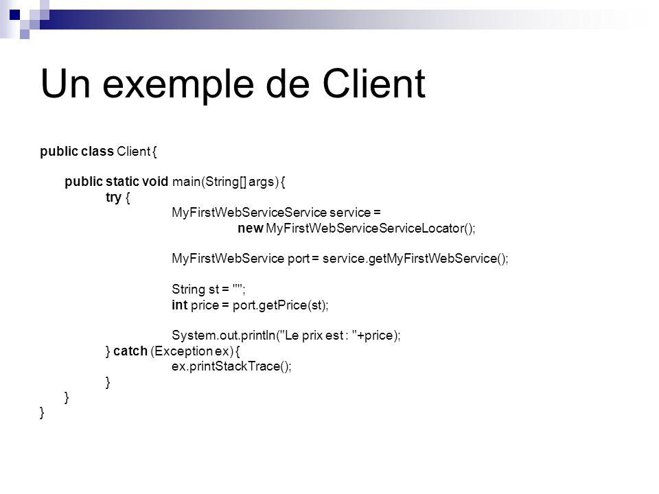 Un exemple de Client public class Client {