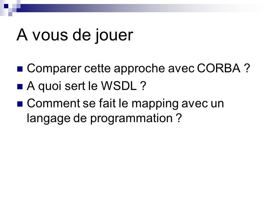 A vous de jouer Comparer cette approche avec CORBA