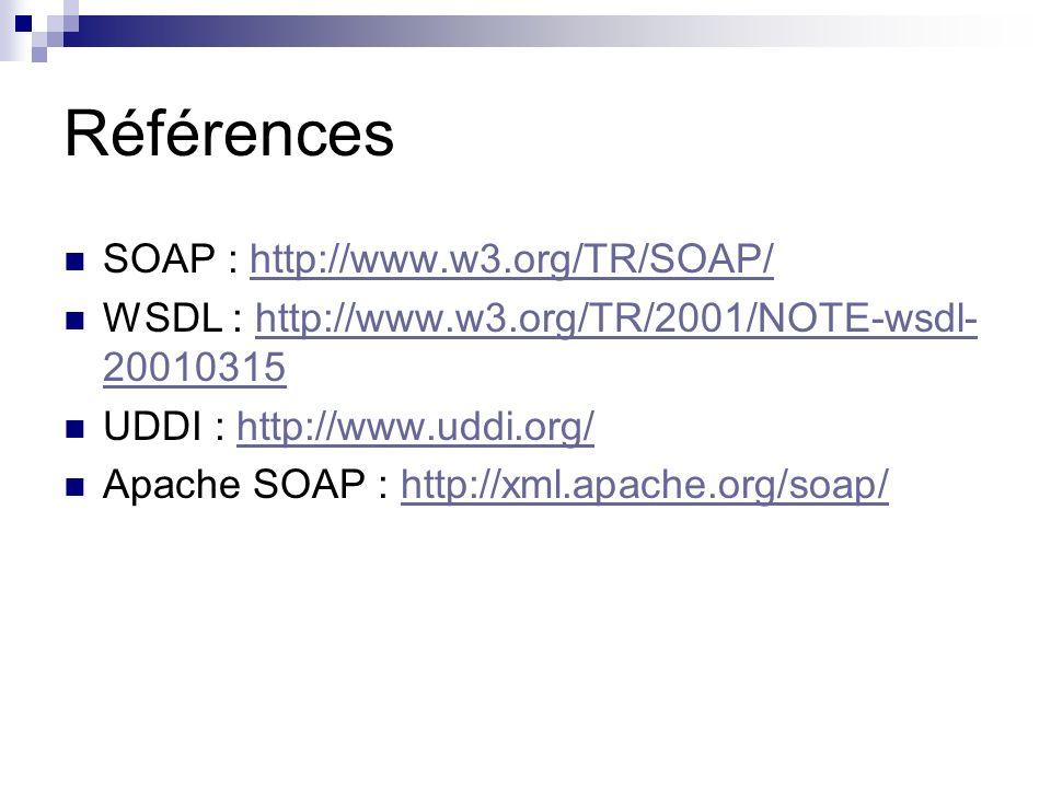 Références SOAP : http://www.w3.org/TR/SOAP/