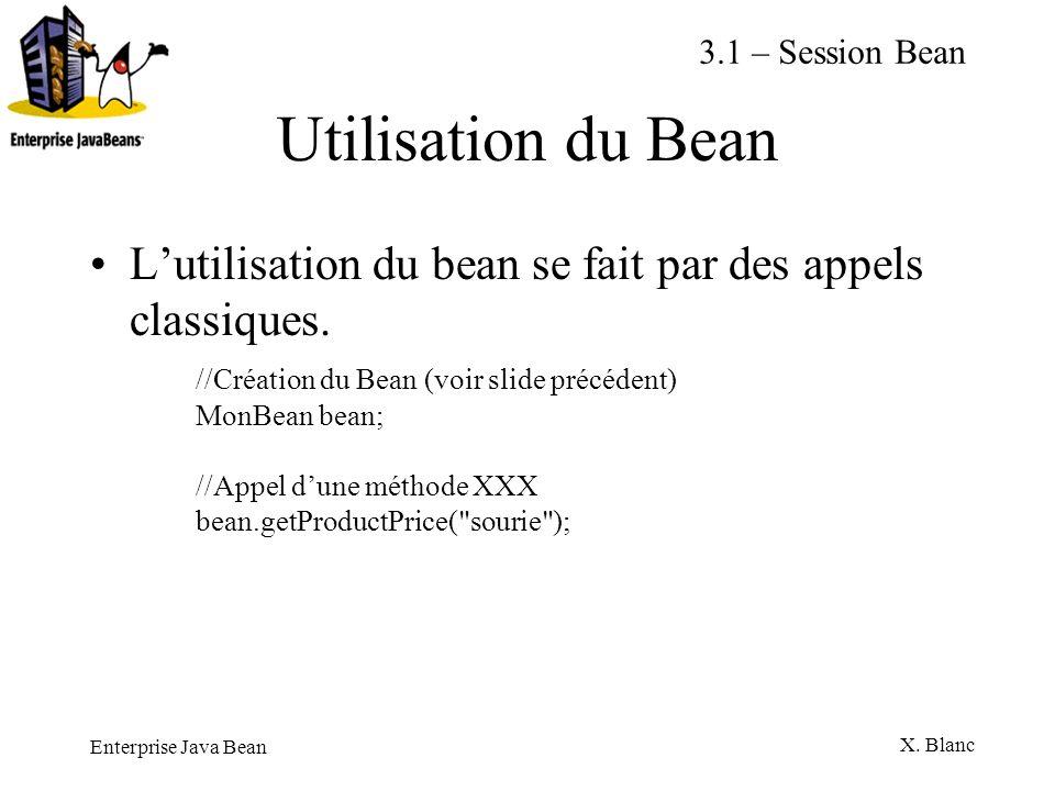 3.1 – Session BeanUtilisation du Bean. L'utilisation du bean se fait par des appels classiques.