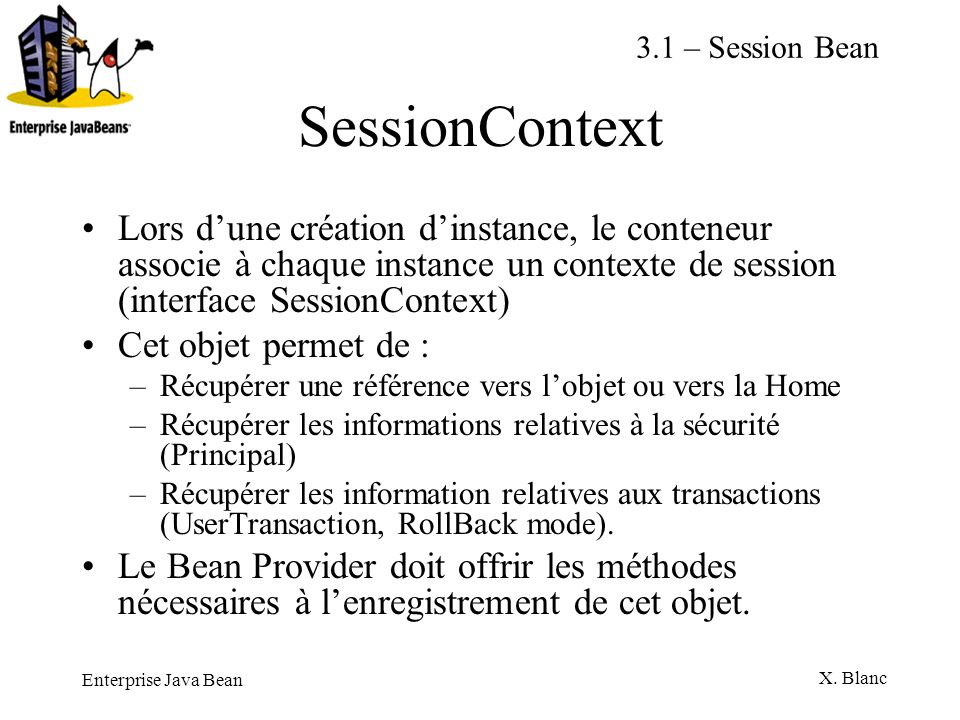 3.1 – Session BeanSessionContext.