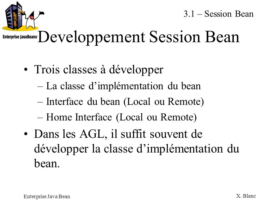 Developpement Session Bean
