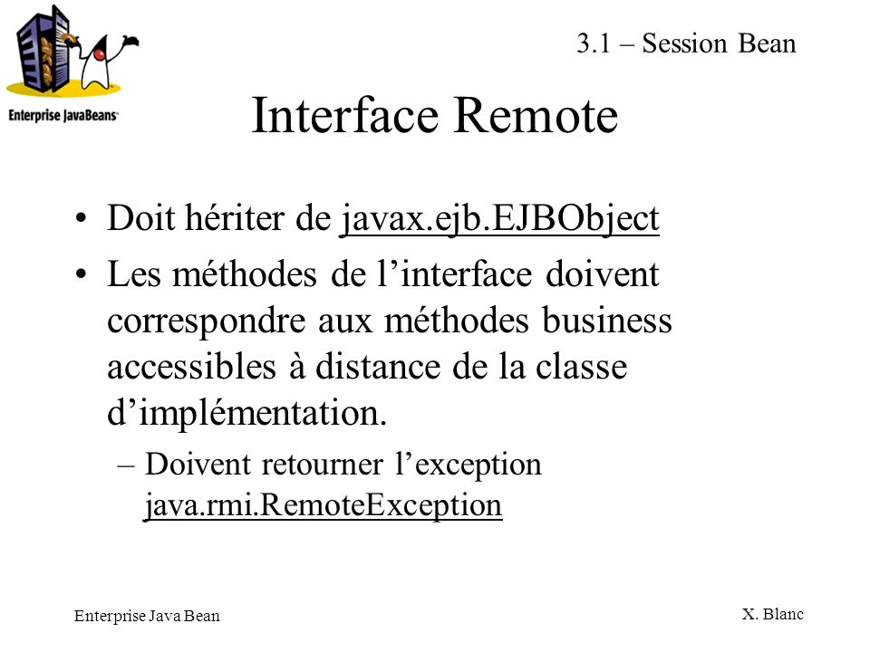 Interface Remote Doit hériter de javax.ejb.EJBObject