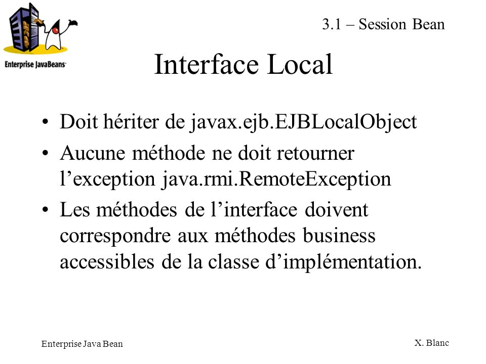 Interface Local Doit hériter de javax.ejb.EJBLocalObject